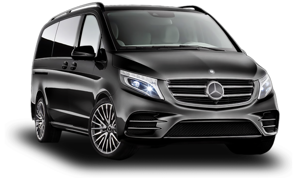 Black Mercedes Vito side view at JustGo Transfers Albufeira, private transfer company.