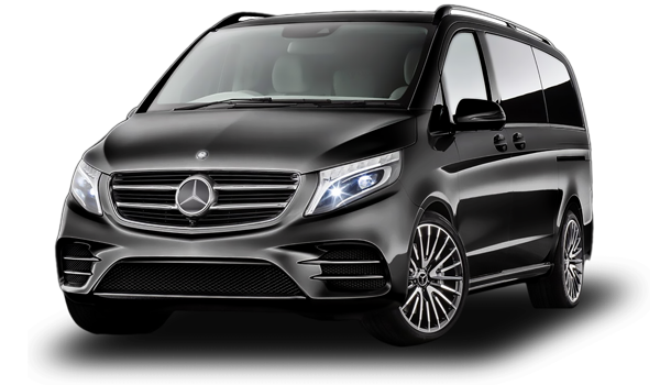 Black Mercedes Vito side view at JustGo Transfers, Algarve transfer services.
